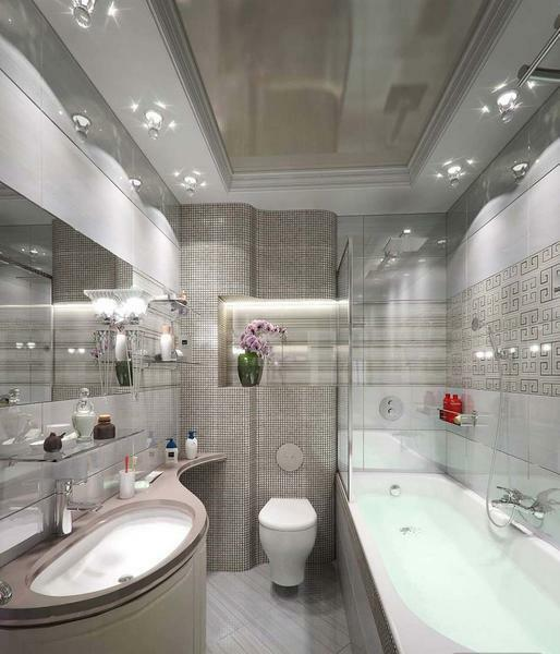 Stretch ceiling very harmoniously fits into the interior of the bathroom