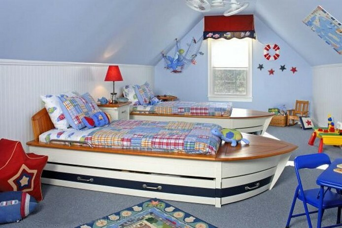 Design a child's room for two children: a small bedroom interior view of beds