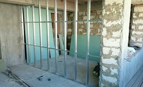 Installation of gypsum board is carried out on a framework of metal profiles
