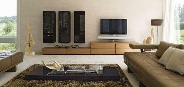 The color of furniture in the living room should be combined with the wall covering