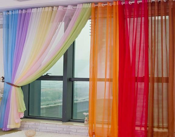 On the non-sunny side, it is possible to use veil curtains