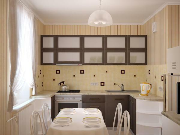Wallpaper in warm colors will help you visually expand the kitchen area in Khrushchev