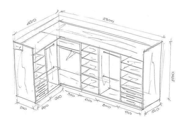 The wardrobe layout will help to plan the room correctly and think through every detail