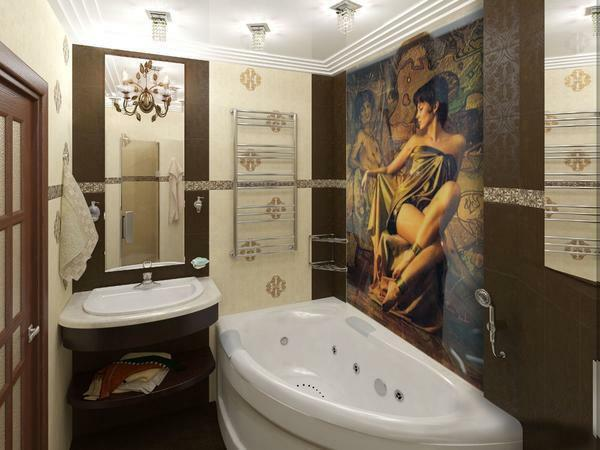 Panel in the bathroom: ceramic and glass for the room, for the tile pool, plastic pvc panels, photo design, corrugated paper