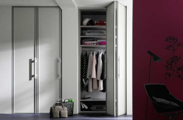 Built-in wall cabinet is an excellent option, significantly saving free space