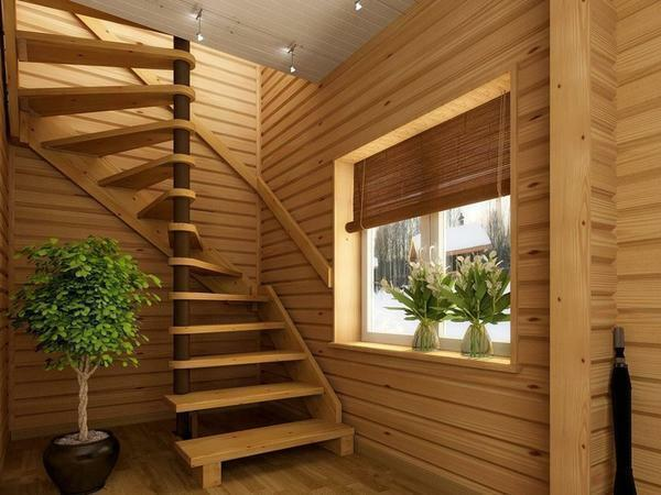 For the arrangement of a private house, a semi-back staircase made of wood