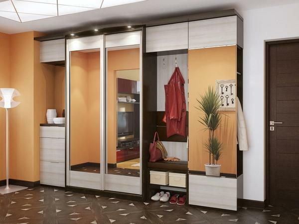 Sliding wardrobes in the hallway photo inside 40: filling and insides, filling and design, depth 60, equipment