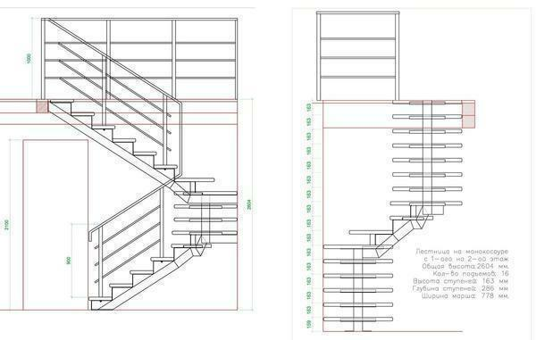 Drawings of stairs: photo on the second floor, with own hands drawing on the plan, cut and manufacture, size and layout