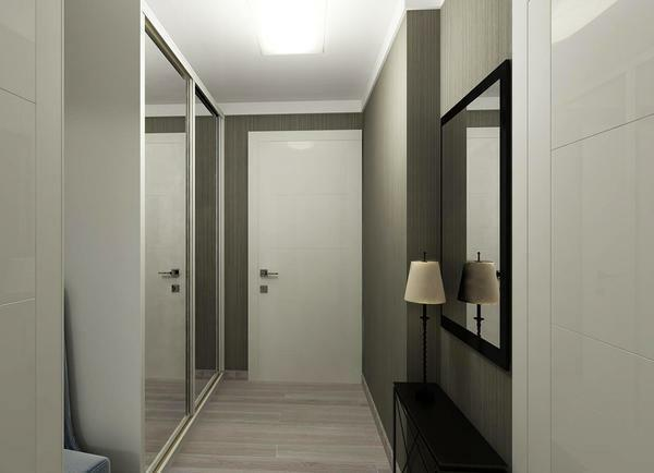 For a narrow hallway, the built-in closet, equipped with large mirrors on sliding doors