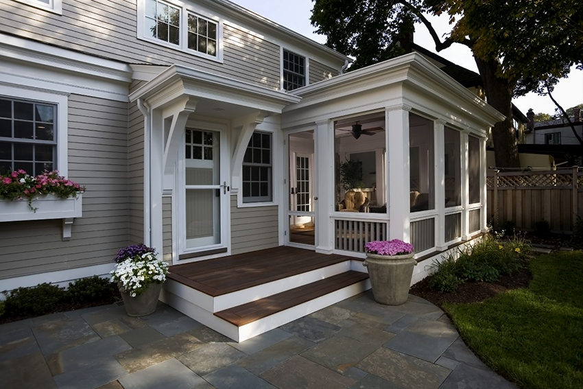 It is better if the porch and the house are made of the same materials