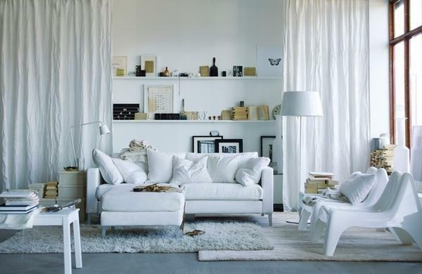 Guest room in white color will help visually expand the space in the room