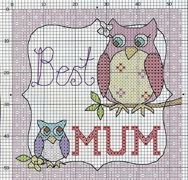 Thank you mom that you are next to the cross-stitch embroidery: free schemes, baby and house, novelties for the anniversary that embroider