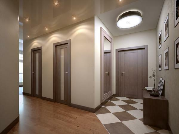 Decorate the interior of the hallway can be done with a laminate with imitation of ceramic tiles