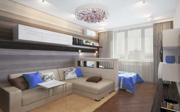 In a small room you can ideally make an adjacent living room and bedroom