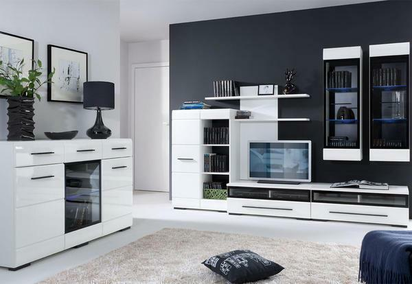 Modular living room in modern style: photo systems, pear and apple tree