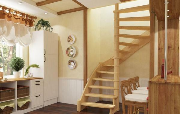 Screw stairs to the second floor can significantly improve the appearance of the interior and make it more functional
