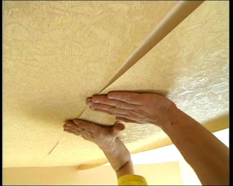 pasting ceiling wallpaper
