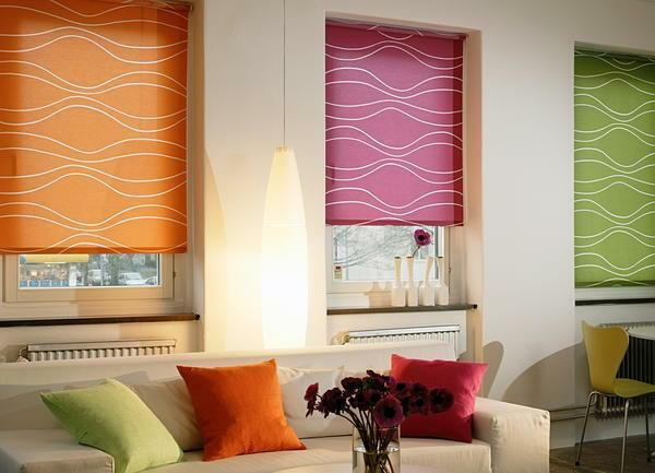 Roller blinds in the interior look very impressive