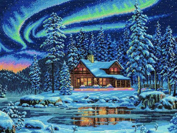 Cross-stitch embroidery designs for free large-scale landscapes: winter and urban, download marine, autumn paintings