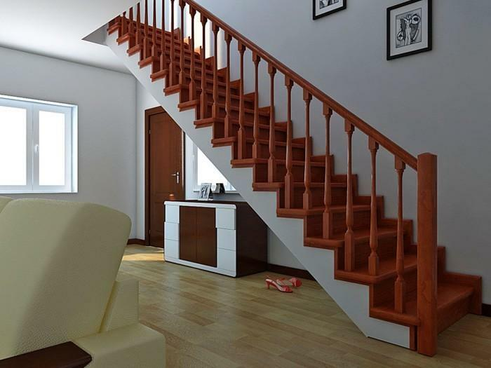 Even a simple straight staircase is able to nicely complement the interior of the room