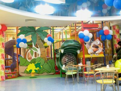 Example of a children's playground, children's room with cafe