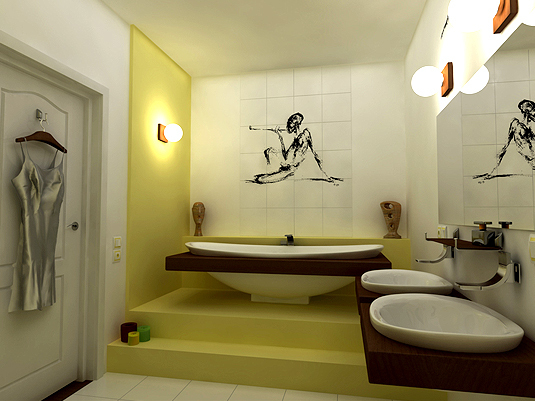 bathroom design in a studio apartment