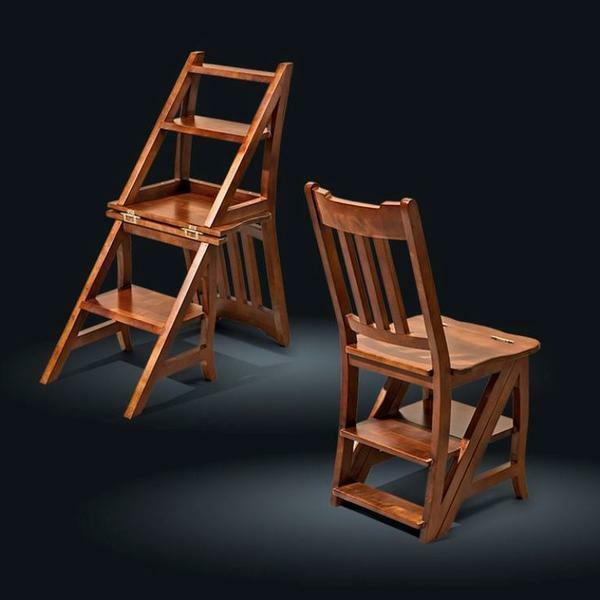 Stool-ladder: Ikea chair, Bekvem drawing by own hands, wooden of birch, plastic pedestals for children