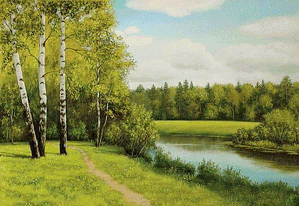 Embroidering birches near the water, you must adhere to the basic rules and then you will get a real masterpiece