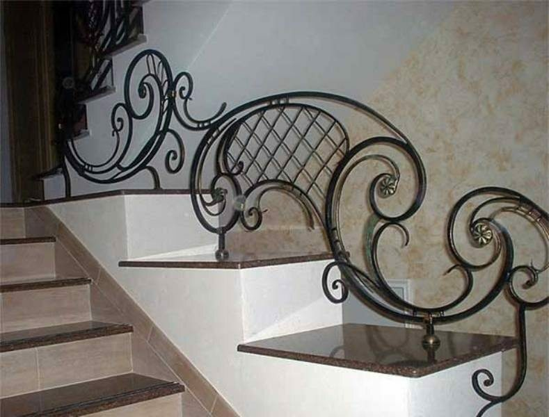 These original wrought iron railings for the stairs, but the inconvenient