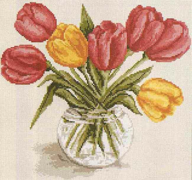 Embroidery of tulips by a cross is an excellent occupation for women