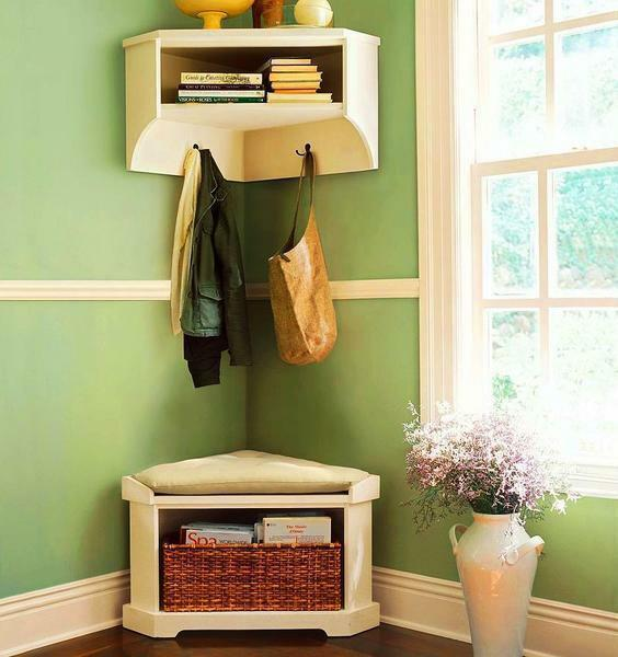 Make the interior in the hallway more cozy and refined with the help of a corner wall hanger