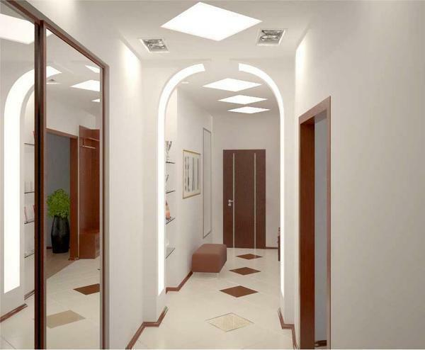 Beautifully decorated corridor interior stylish plasterboard arch