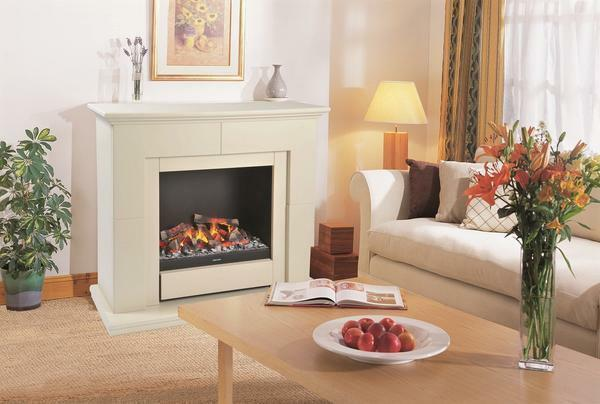To give the electric fireplace natural, it should be finished with natural stone, decorative brick or tile