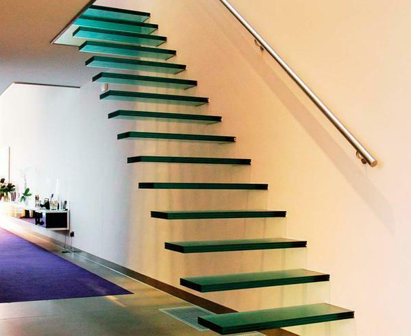 Glass ladders: fiberglass with metal and wooden steps, photo, on the second floor, production of LSP