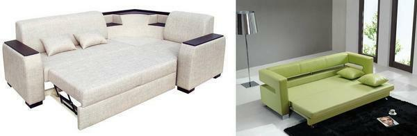 To save space, you can choose a folding sofa that will become a practical and functional element in the living room