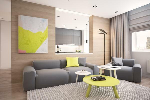 Living room in gray tones: interior in color, combination and photo, hall design with bright accents, style of light walls