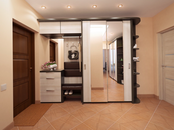 Ceramic tiles and porcelain stoneware are the most preferred materials for finishing the floor in the hallway