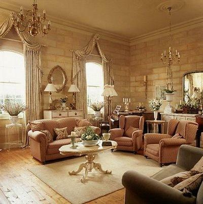 The living room in English style is characterized by exquisite and strict interior