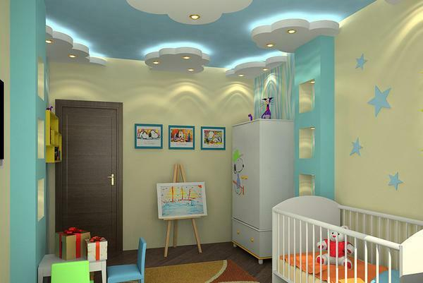 The ceiling of the gypsum board takes several centimeters, which is quite noticeable for the standard ceiling height. But it is in the nursery that is not a drawback