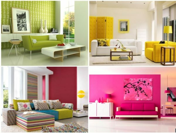 The combination of colors in the interior: the selection of colors, table, video and photos