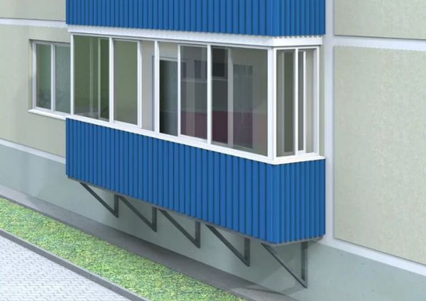 A balcony is a platform that protrudes from the plane of the facade of the house