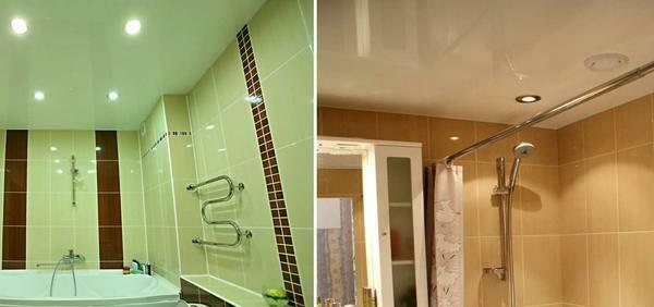 Many install a stretch ceiling in the bathroom due to the fact that it can hold water in the event of a flood