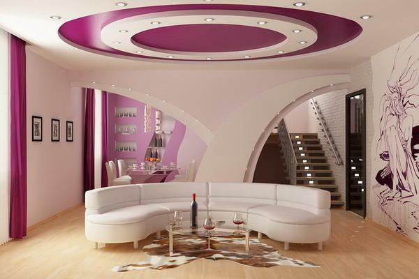 Suspended ceilings give the room an unusual and refined appearance