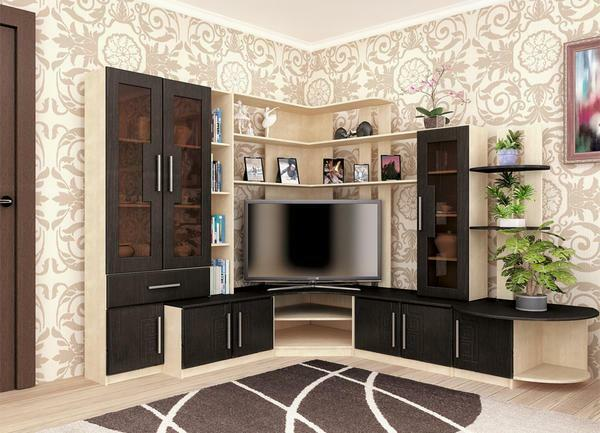 Correctly arranged corner furniture in the living room can become an excellent delimiter of the room into separate zones