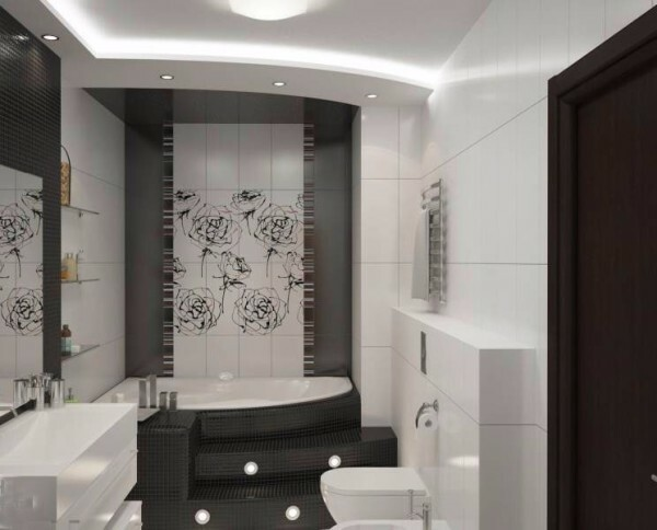 Small bathroom in style hi-tech