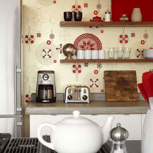 What pokleit wallpaper in the kitchen