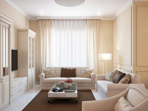In 2017, new options appeared for the design of small living rooms, among which beige shades are popular