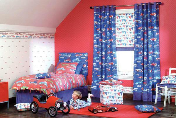 Curtains in the children's room for the boy: photos, Roman photo shots, blue curtains and pictures