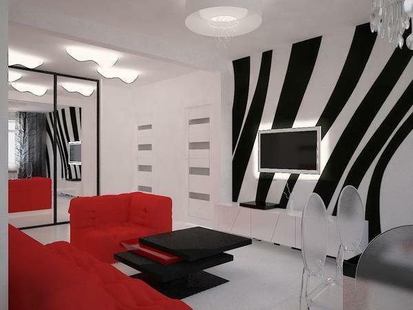 Decorating a black and white living room, special attention should be given to white color