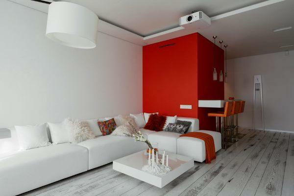 The decoration of the hall in red and white color perfectly suits non-ordinary and creative personalities